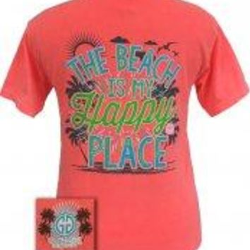 """GGO """"The Beach is my Happy Place""""Comfort Colors T-shirt-2x"""