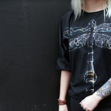 Steam punk Dragonfly Blouse, Hand painted bomber blouse, OOAK tattoo clothing
