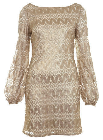 Gold Zigzag Dress - Going Out Dresses  - Dress Shop