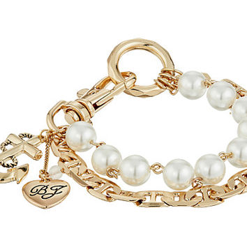 Betsey Johnson Anchor Charm Mixed Pearl Bracelet Pearl - Zappos.com Free Shipping BOTH Ways