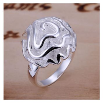 Rose Shape Silver Plated Engagement Wedding Bridal Ring (6,7,8)