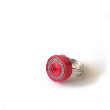 Red Grey Quilling Paper Adjustable Ring, Pastel Quilled Paperwork, Quilling Ring