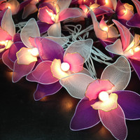 20 Pink-White-Purple Orchid Flower Fairy String Lights Hanging Wedding Gift Party Patio Indoor Bedroom Fairy Lights Romanticl ights