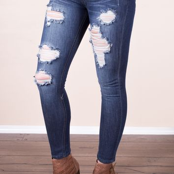 Medium Distressed Skinnies - Machine Jeans