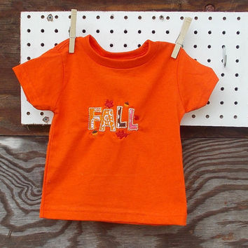 Baby Girl clothes Appliqued T shirt  6, 12, or 18, 24  months, Fall, Thanksgiving, Autumn