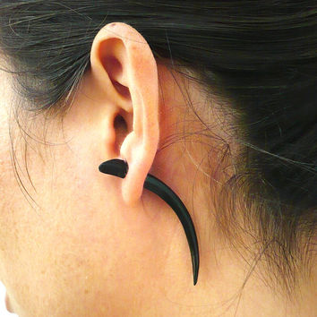Fake Gauges Earrings Horn Earrings Talon Tribal Buffalo Black Horn Organic - FG034 H