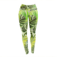 "Alison Coxon ""Jungle Green"" Green Yellow Yoga Leggings"