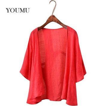 Women's Cotton Linen Bolero Cardigan 3/4 Sleeves Summer Thin Section Short Paragraph Solid Color Loose Shirt 200-A990