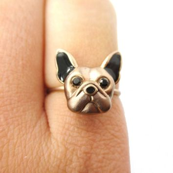 3D French Bulldog Puppy Face Shaped Animal Ring in Size 6 | Gifts for Dog Lovers