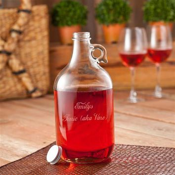 Engraved Free Wine Jug with Two Wine Glasses