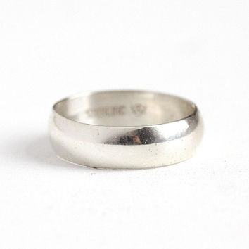 Silver Cigar Band - Vintage 1960s Era Retro Sterling Silver Size 6 Ring - Classic Unadorned Modernist Women's Men's Unisex Stacking Jewelry