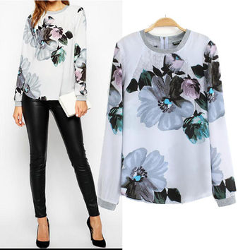 Floral Long Sleeve Pullovers Sweatshirt