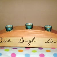 Live Laugh Love Wooden Candle Holder by BillsWoodenPleasures