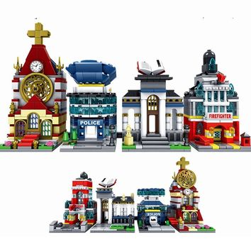 Legoing City Street View Cathedral Library Police Fire Mini Architecture Building Blocks Toys for Kids Legoings Streetview