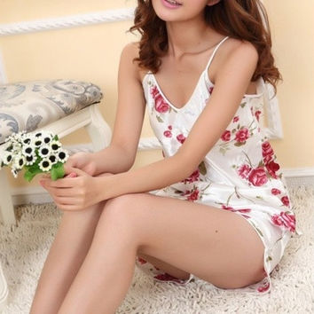 Women Sexy Flower Sleepwear Braces Shirts+Shorts Underwear Pajamas Robes Set [9222635652]