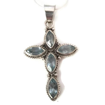 Oxidized Blue Topaz Cross Pendant - Necklace -Sterling Silver Cross Blue Topaz Pendant - 925 Blue Topaz Jewelry -December Birthstone Jewelry