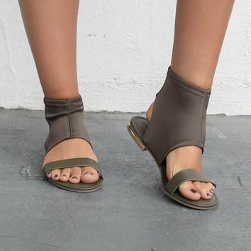 All About It Olive Stretch Sandal