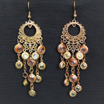 Vintage Hippie Boho Chandelier Dangle Statement Earrings In Brass Tone