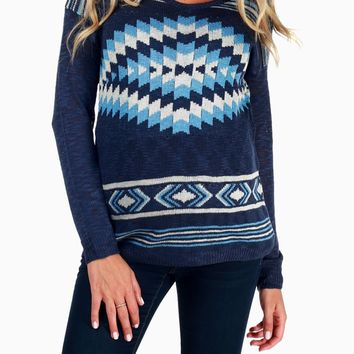 Navy Blue Tribal Print Maternity Sweater