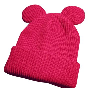Red Ear Detail Knitted Hat