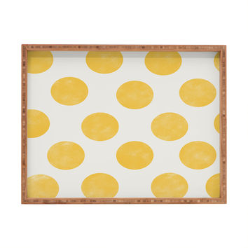 Allyson Johnson Spring Yellow Dots Rectangular Tray