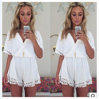 Hot Sale Sexy V-neck Slim Chiffon Patchwork Romper [4966101700]