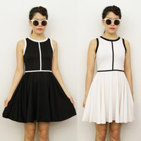 MONOCHROME Black White MOD Sporty Skater Mini Cocktail Races Derby Dress 6 8