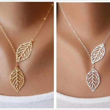 SALE! Dainty Gold Silver Filigree Skeleton Tree Leaf Double Two Leaves Lariat Pendant Bib Statement Tassels Short Necklace Collar, Wedding Bride Bridesmaid Jewelry, punk girly lolita, autumn fall season woodland forest tree = 1929958148