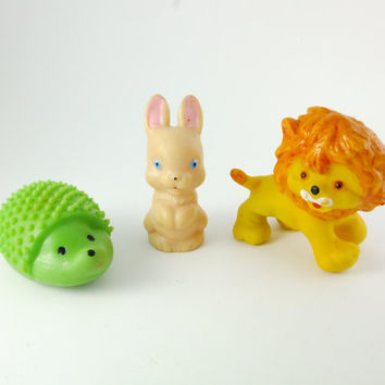 Lion, Rabbit, Hedgehog, Colorful, Green, yellow, beige , Rubber Toy, a Soviet Vintage, 1970's, Soviet Toy, Russian Toy