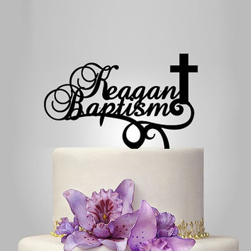 baptism gift, baptism cake topper and Personalized name with cross, Party Decor, Newborn Baby gift- Custom Cake, Topper monogram cake topper
