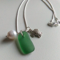 Turtle Necklace, Emerald Sea Glass Necklace, Charm Necklace, Natural Pearl Pendant, Beach Pendant, Sea Glass Jewelry, Tortoise Pendant