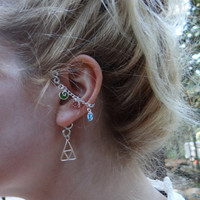 The Legend of Zelda's Wise Ear Bend with Hanging Spiritual Stones and Triforce in Silver