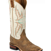Justin Bent Rail Ivory Puma Cowgirl Boots - Square Toe - Sheplers