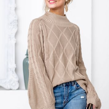 Taupe Turtle Neck Knit Sweater