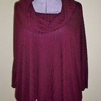 Womens Size S Rue 21 Petal Back Cowl Neck Sweater Deep Red Black Variegated LOOK