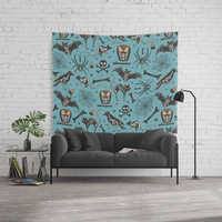 Halloween X-Ray Blue Wall Tapestry by Heather Dutton