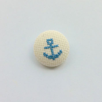 Anchor jewelry, embroidery handmade cross stitch pinback button badge (Blue)