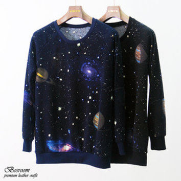 Women's galaxy space print long sleeve top round t-shirt BLACK/NAVY XS S M