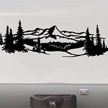 A MIRRORED SET IN BLACK Mountains Lake Pine Tree RV Camper Camping Decal Sticker