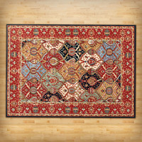 5'3-inch x 7'3-inch Area Rug in Red Blue Black Oriental Pattern