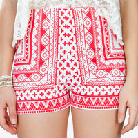 Behati Border Print Shorts