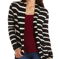 Long Sleeve Striped Cocoon Cardigan by Charlotte Russe