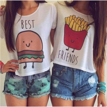 LMFUS4 Women Fashion Casual O Neck Short Sleeve Printed Ladies T-shirt Hamburg Chips Best Friends Sexy Tops