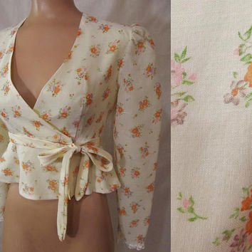 Vintage 70s Peplum Waist Wrap Blouse | 1970s Wrap Peplum Blouse | Fitted Waist Cropped Bolero Jacket | Sexy Peplum Jacket | BOHO Yellow