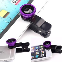 Luxsure® Universal 3 in 1 Camera Lens Kit Clip-On 180 Degree Supreme Fisheye + 0.65X Wide Angle+ 10X Macro Lens for iPhone 6s/6s Plus, iPhone 6/6 Plus,iPhone 5 5S 4 4S Samsung HTC Android (Purple)