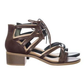 Talla Gladiator Cage Lace Up Low Chunky Block Heel Open Toe Sandal