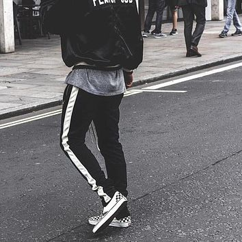 8 colors new fashion mens famous brand side strip retro pants fear of god fog anke zipped track sweatpants joggers