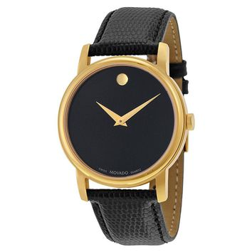 Movado Museum Black Dial Black Leather Mens  Watch 2100005