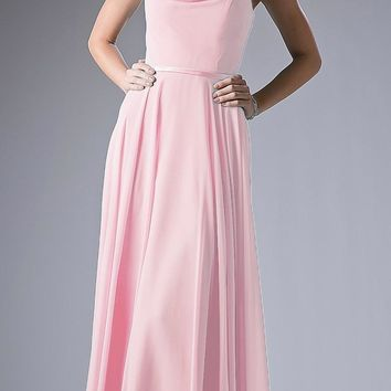 Blush Sleeveless Floor Length Formal Dress with Cowl Neck and Back
