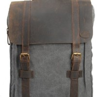 Canvas Genuine Leather Travel School Bookbag Camping Backpack Rucksack Computer Laptop Bag:Amazon:Shoes